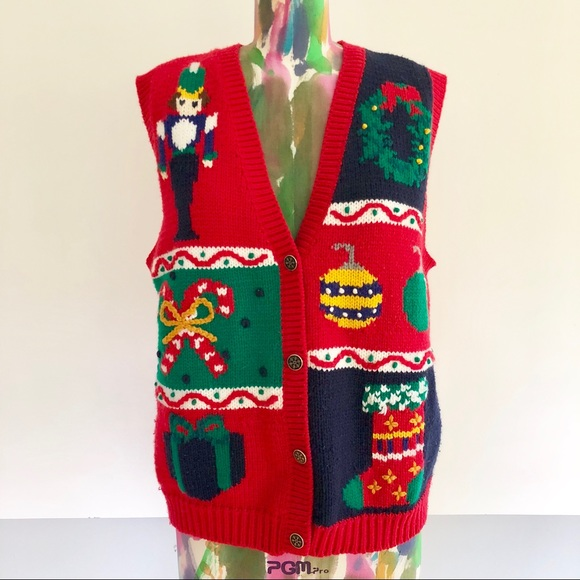 Vintage Sweaters 80s Ugly Christmas Sweater Vest Poshmark